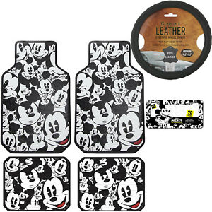 6pc Set Mickey Mouse Car Truck Front Rear Vinyl Floor Mats Steering Wheel Cover