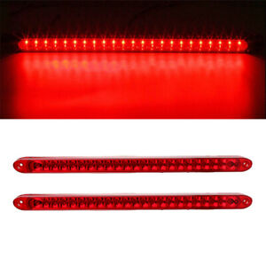 2pc 17 Submersible Red 23led Stop Turn Tail 3rd Brake Light Bar Truck Trailer