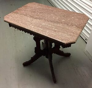 Antique 1800s Victorian Marble Top Table 30h20d30w Rectangle