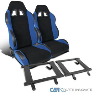 Ford 79 98 Mustang Royal Blue Cloth Racing Seats tensile Steel Mount Brackets