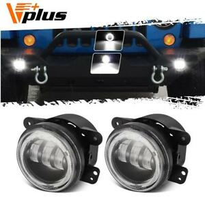 4 60w Cree Led Fog Lights W white Halo Ring Angel Eyes Fits Jeep Wrangler Dodge