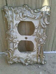Vtg Ornate Decorative Double Wall Outlet Cover Plate Architectural Nice