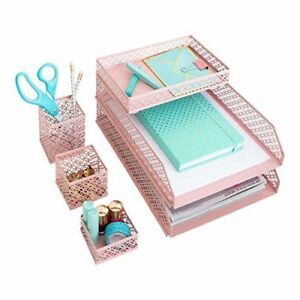 Office Supplies Pink Desk Accessories For Women 3 Accessory Trays 2 Letter Trays