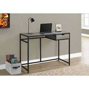 Dark Taupe And Black Metal 42 inch Computer Desk
