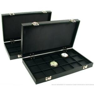 2 Travel Display Cases For Coins Pocket Watchs