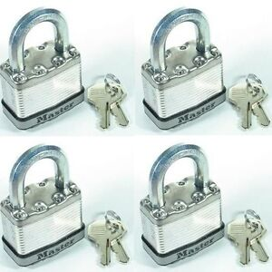 Lock Set Master M5ka lot 4 Keyed Alike Large 2 Body Carbide Shackle Magnum