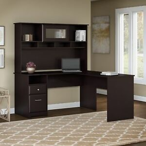 Bush Furniture Cabot 60w L Shaped Computer Desk With Hutch And Drawers In