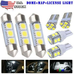 8x White Led Dome Map License Plate Light Bulbs Interior Car Led Package Kit 99