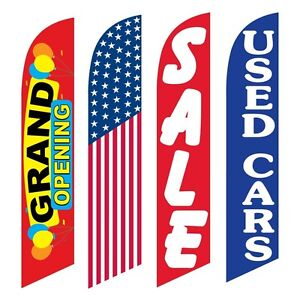 4 Swooper Flags Grand Opening America Sale Used Cars