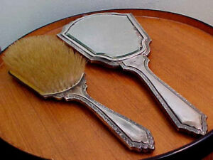 Sterling Mirror Brush Set Very Ornate Antique 925 Sterling Silver