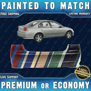 New Painted To Match Rear Bumper Replacement Cover For 2004 2005 Honda Civic 4dr
