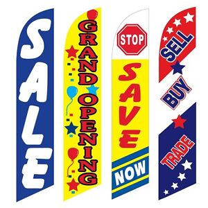 4 Swooper Flags Sale Grand Opening Save Now Sell Buy Trade