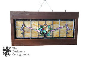 Antique Leaded Stained Glass Window Panel Frame Fruit Grapes Reclaim Salvage 40