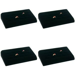 4 Sets 18 Ring Tray Black Velvet Jewelry Showcase Display Box