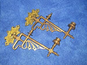 Edwardian Pair Wall Mount Bronze Brass Antique Wall Mount Candle Cup Sconce S