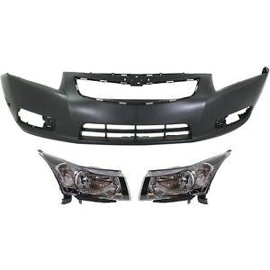 Bumper Cover Kit For 2011 2014 Chevrolet Cruze Front 3 Pieces