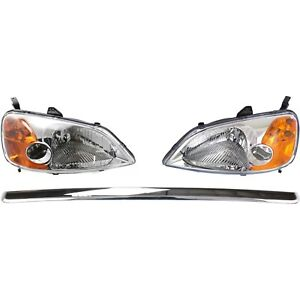 Headlight Kit For 2001 2003 Honda Civic Left And Right 3pc