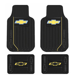 New Chevy Elite Bowtie Logo Car Truck Front Back All Weather Rubber Floor Mats