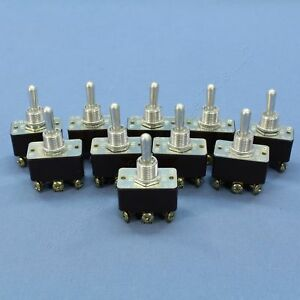 10 Double Pole Double Throw Bat Toggle Switches On off on 15a 125v 10a 250v 5744