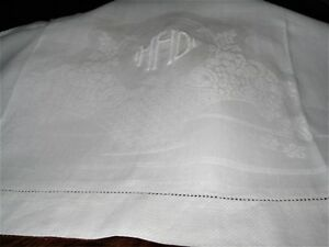 Early Mono Mhd Antique Linen Damask Show Towel Flower Basket 20x37 Excond