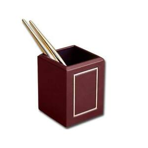 Dacasso Burgundy 24 karat Gold Tooled Pencil Cup