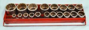 Snap on 19 Piece Sae 1 2 Drive Socket Set Sw Series
