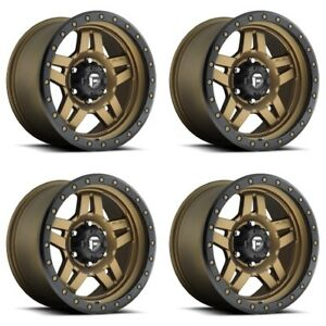 Set 4 20 Fuel Anza D583 Bronze Wheels 20x9 6x5 5 20mm Chevy Gmc 6 Lug Trucks