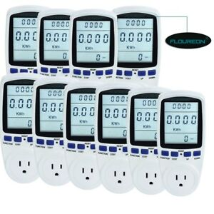Lcd Digital Plug in Power Meter Socket Energy Voltage Amps Electricity Monitor
