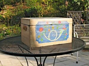 Antique Wood Painted Trunk Chest 18th Century War Ship Iron Handles Folk Art Usa