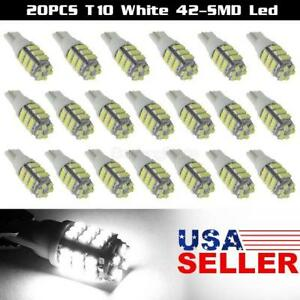 20x T10 W5w 2825 194 168 158 White 42 smd Led Interior Wedge Light Bulb Lamps