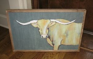 Big Longhorn Cow Picture Primitive French Country Farmhouse Barn Decor New