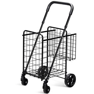 Folding Shopping Cart Jumbo Basket Rolling Utility Trolley Adjustable Handle New
