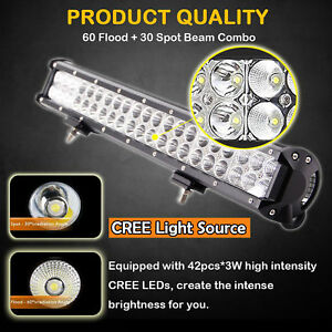 20inch 126w Cree Led Light Bar Flood Spot Combo Driving Offroad 4x4wd Truck