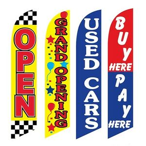 4 Swooper Flags Open Grand Opening Used Cars Buy Pay Here