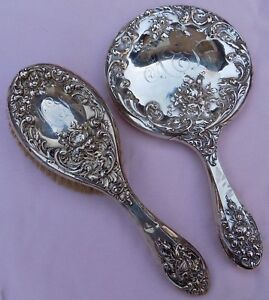 Antique Foster Bailey Sterling Silver Victorian Hand Mirror Brush Lot Set 1806