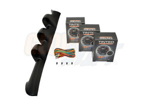 Glowshift 52mm Triple Pillar Pod 3 Tinted Series Gauges For 94 02 Ford Mustang