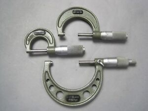Mitutoyo Micrometer Set Of 3 0 1 1 2 2 3 0001 Used Clean Accurate Vgc
