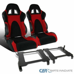 Ford 05 14 Mustang Red Suede Leather Pvc Type 6 Racing Seats Mount Brackets