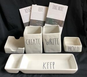 Rae Dunn Ceramic Office Desk 8 Piece Lot Set Keep Hold Note Pad Write Create New