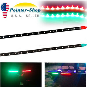 2pcs 1ft 15 Led Red Green Car Motor Flexible Led Strip Light Kit 12v Waterproof