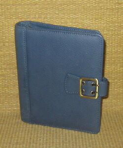 Compact 1 Rings new Blue Leather boston Franklin Covey Planner binder