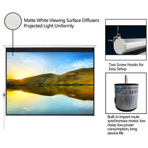 100 16 9 Electric Projection Screen Projector Home Movie Matte White