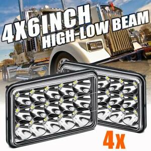 4pcs 4x6 5x6 75w Cree Led Headlights Hi Lo Clear Sealed Beam Replace Hid Xenon