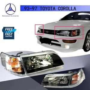 For 93 97 Toyota Corolla Jdm Spc Headlights Black Housing Glass Lens