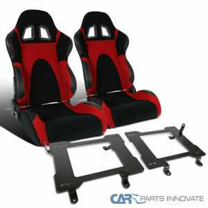 99 04 Ford Mustang Red Suede Leather Pvc Type 6 Racing Seats Mount Brackets