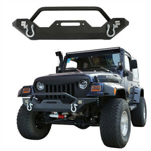 Front Bumper Built In Led Light W Winch Plate For 1997 2006 Jeep Wrangler Tj