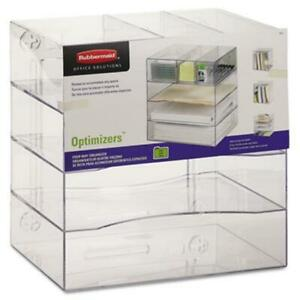Rubbermaid Optimizers Four way Organizer With Drawers 13 25x13 25x10 Clear