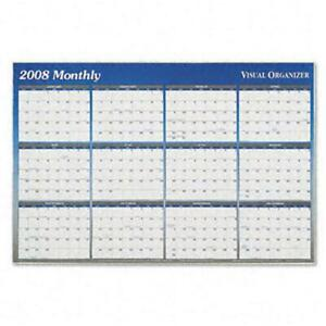 At a glance Erasable Monthly quarterly Format Dated Yearly Wall Planner 24x36