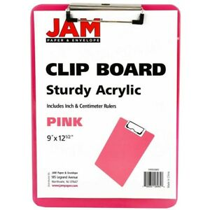 Jam Paper Plastic Clipboards 9 X 13 In Pink Clipboards Pack Of 12