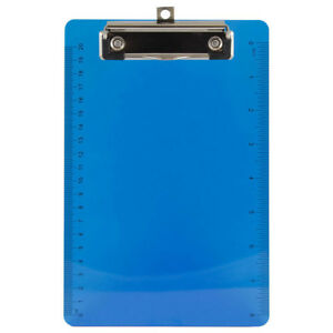 Jam Paper Plastic Clipboards Small 6 X 9 Blue Clipboard 12 pack